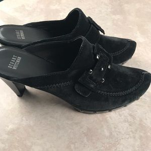 Stuart Weitzman black suede heeled clogs 9.5